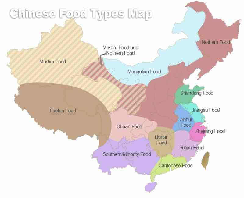Traditional Chinese cuisine Eight Culinary Traditions map